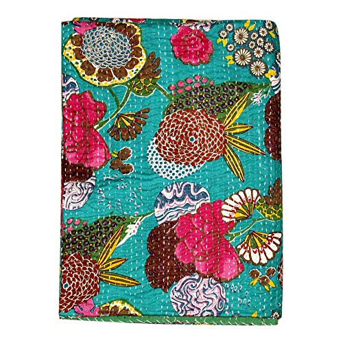 Real Online Seller Indian Patch Work Cotton Kantha Quilt Twin Bedspreads Throw Blanket (Twin Multi Floral) (Indian Embroidery Bedspread)