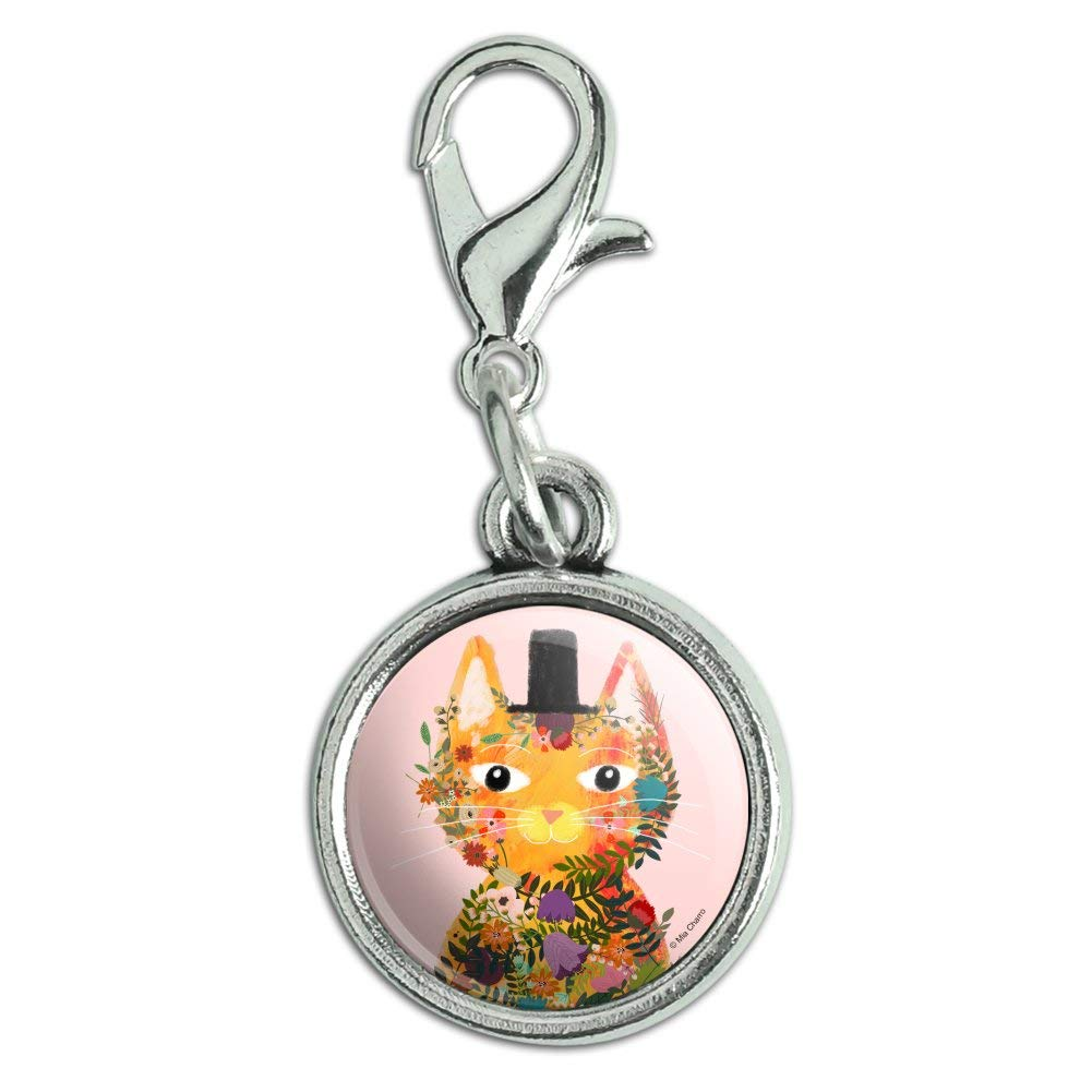 GRAPHICS /& MORE Flower Cat with a Top Hat Antiqued Bracelet Pendant Zipper Pull Charm with Lobster Clasp