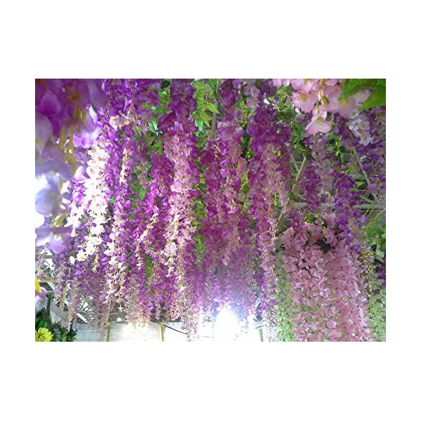 "Calcifer 43"" Set of 9 Artifical Wisteria String Hanging Silk Flower String Wedding Decor (Purple)"