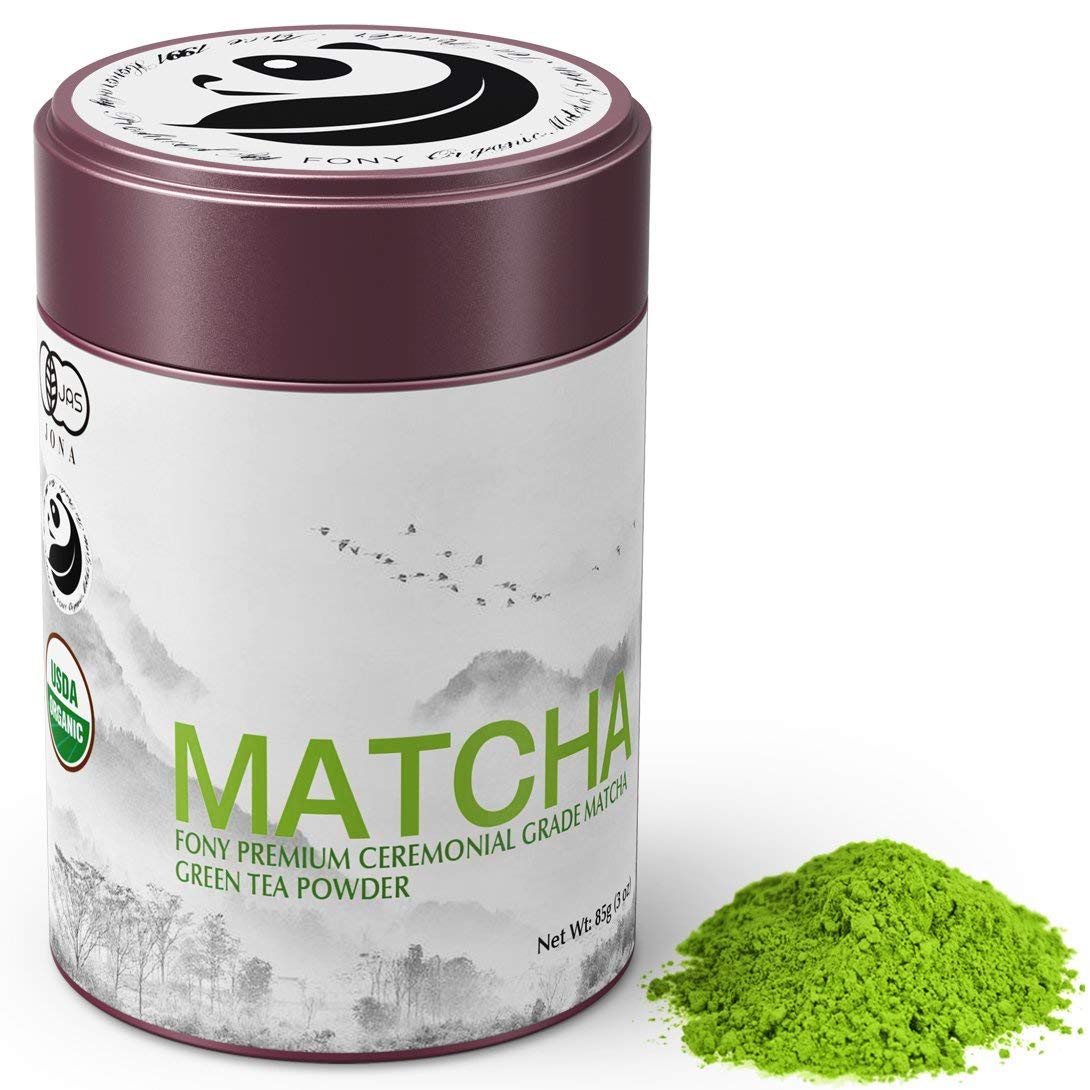 FONY 85g Japanese Matcha Green Tea Powder, USDA Organic - Authentic Ceremonial Grade (Premium, Tin)