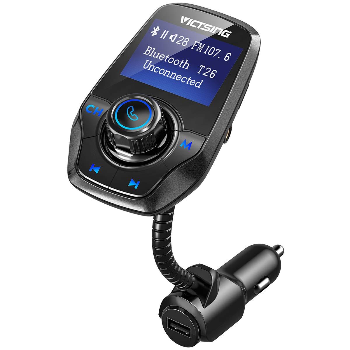 Radio Musica Receptor Altavoz Bluetooth FM Tarjeta del TF-Gris 1.44 LCD VICTSING Manos Libres Bluetooth Coche Transmisor FM 5V//2.1A USB Reproductor de MP3 Transmitter
