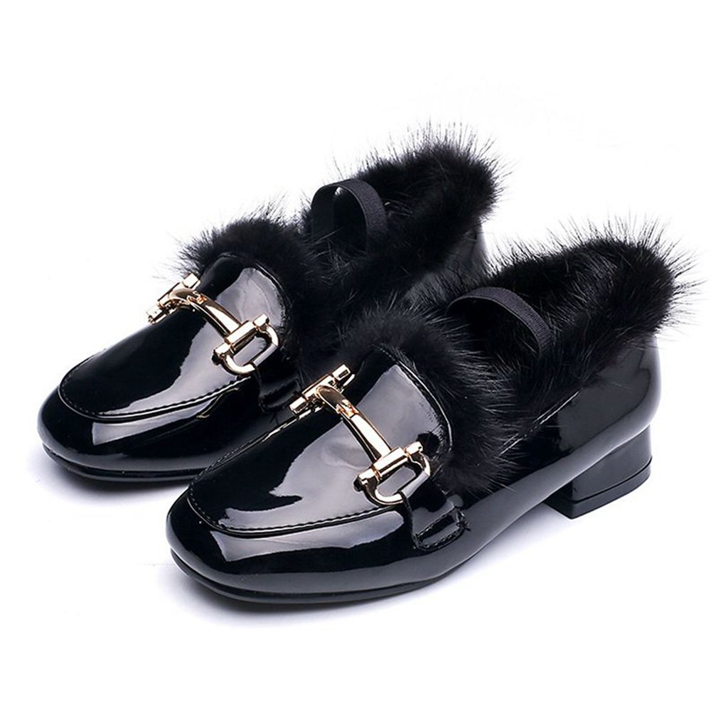 Toddler//Little Kid//Big Kid CYBLING Girls Stylish Slip On Loafers Patent Leather Plush Boat Casual Shoes
