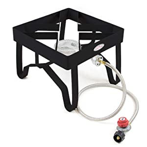 GAS ONE High-Pressure Single Burner Outdoor Stove Propane Gas Cooker with Adjustable 0-20PSI CSA Listed Regulator and Hose Perfect for Beer Brewing, outdoor cooking, Maple Syrup Prep