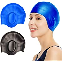 2 Pcs Swim Caps Cover Ears, Durable Silicone Non-Slip Waterproof Swimming Caps for Women Men, 3D Ergonomic Design Pool…