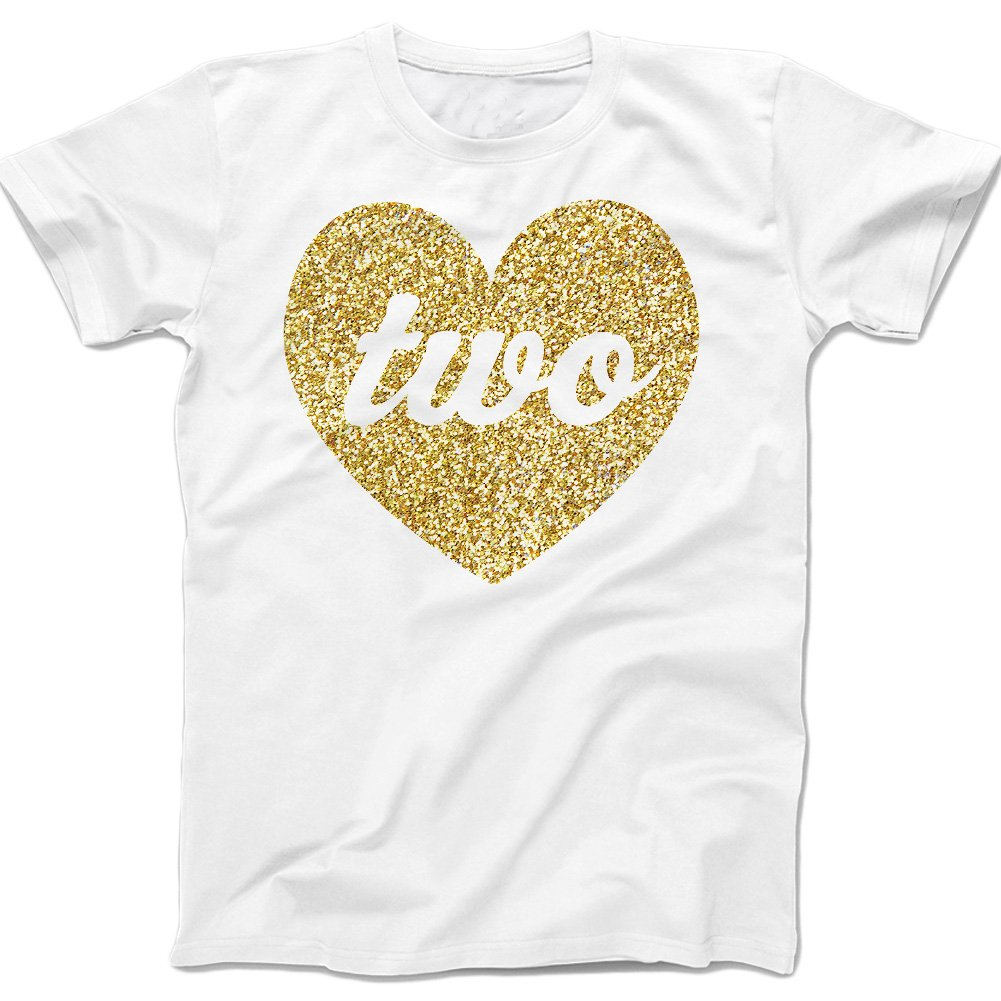 Zoey's Attic Second Birthday Gold Sparkly Heart Two (2t, White)