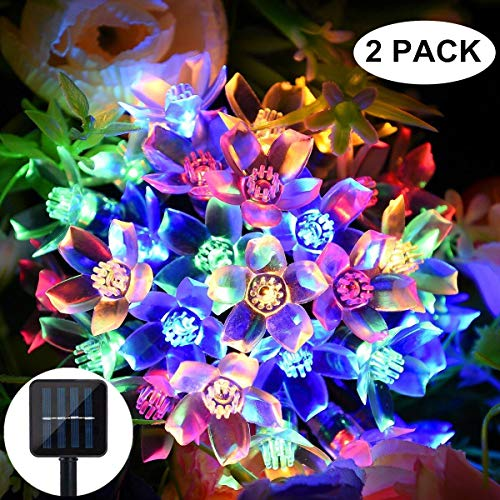 Solar Strings Lights Garden, 2 Pack 8 Modes 50 LED Blossom Solar Powered Fairy Lights Waterproof Outdoor Flower String Lights for Patio, Yard, Tree, Home, Lawn, Wedding, Party Decorations - Multicolor