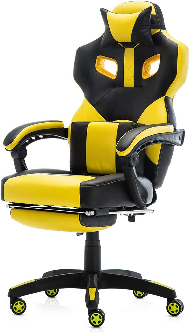 Racing Style PU Leather Gaming Chair – Ergonomic Swivel Computer, Office or Gaming Chair Desk Chair HOT YE0
