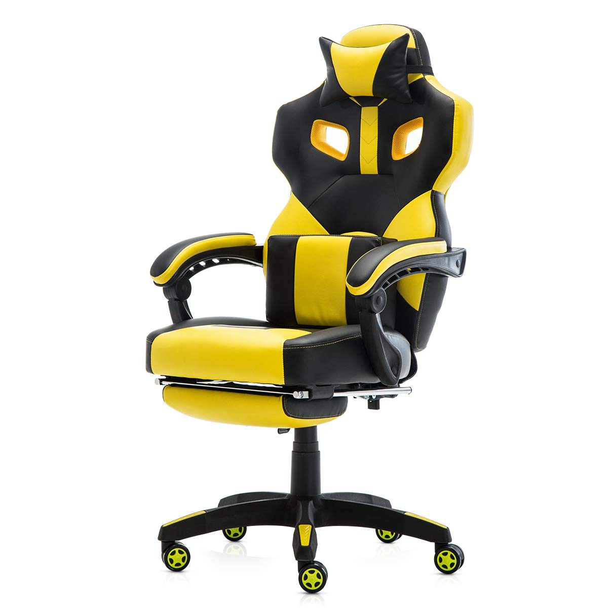 Racing Style PU Leather Gaming Chair - Ergonomic Swivel Computer, Office or Gaming Chair Desk Chair HOT (YE0) by Seatingplus