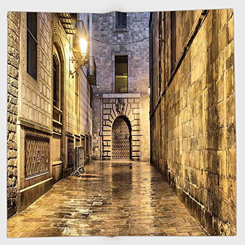 Cotton Microfiber Hand Towel,Gothic,Dark Stone Ancient Street Spain European Horror Dark Evil Renaissance Medieval Art Photo,Beige,for Kids, Teens, and Adults,One Side Printing by iPrint