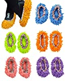 10pcs (5 Pairs) Mop Slippers Shoes Cover, Soft Washable Reusable Microfiber Foot Socks