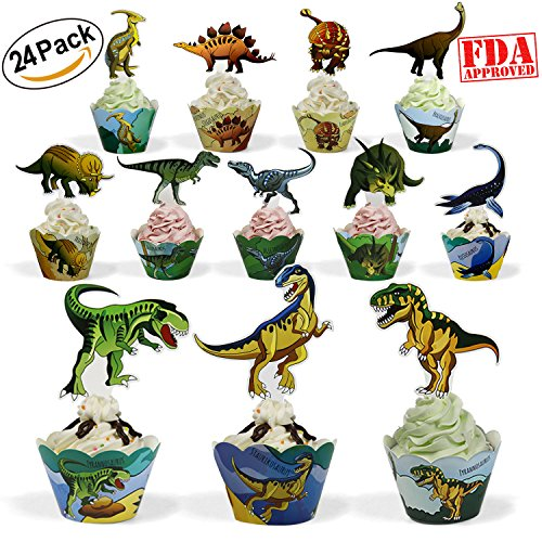 Dinosaur Party Supplies Cupcake Toppers and Wrappers 24 Pack Cupcake and Cake Decrorations for Kids Boys Birthday - Birthday Cupcake