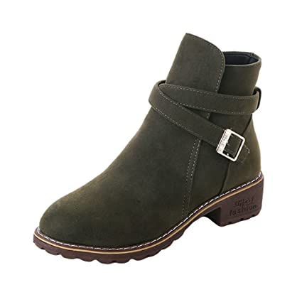 Amazon.com: Faionny Women Buckle Ankle Boots Faux Leather Suede Boots Warm Snowshoes Shoe Shoes Sneakers: Clothing