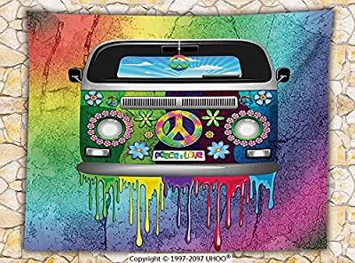 Groovy Decorations Fleece Throw Blanket Old Style Hippie Van with Dripping Rainbow Paint Mid 60s Youth Revolution Movement Theme Throw Multi
