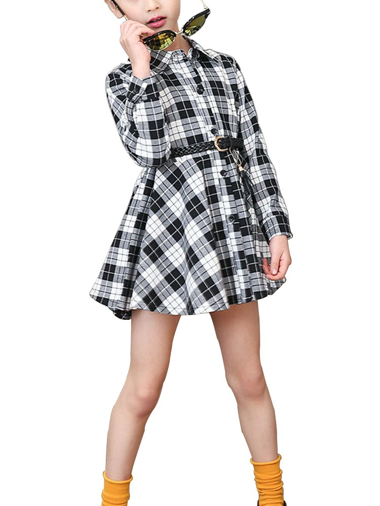 Kids Girls' Casual Check Plaid Dress A Line Collar Neck Button Down Shirt Dress Black Tag 140 (8-9 Years)