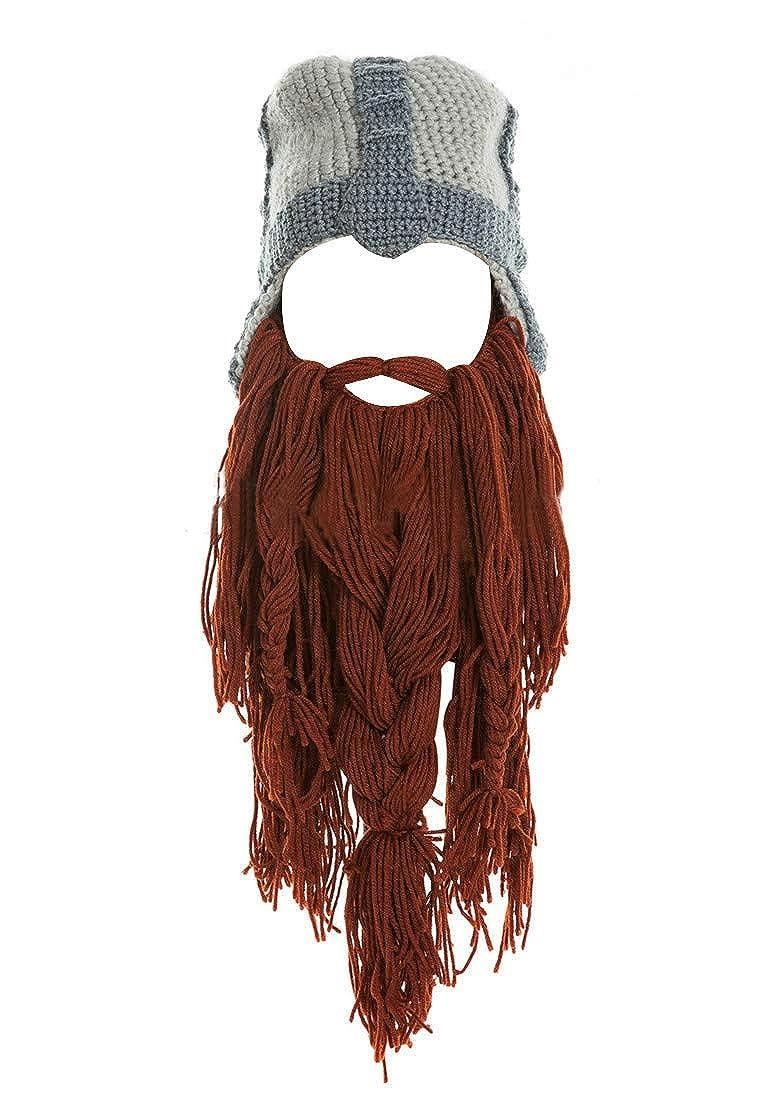 2530580b0dd Kafeimali Men s Barbarian Warrior Knit Beard Hat Original Beanie Halloween  Caps (Black) at Amazon Men s Clothing store