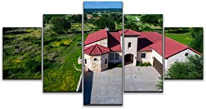Skipvelo Luxury Mansion Home on Vineyard Winery Open Green Texas Hill Country Wall Art Canvas Prints Pictures Paintings Artwork Home Decor Stretched and Framed - 5 Pieces