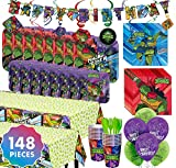 Party City Teenage Mutant Ninja Turtles Party Kit for 16 Guests, Includes Plates, Napkins, Balloons, and Decorations