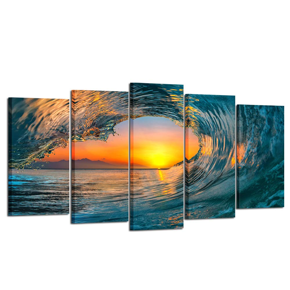 Kreative Arts Large 5 Piece Sea Waves Wall Art Modern Framed Giclee Canvas Prints Seascape Artwork Ocean Beach Pictures Paintings on Canvas for Living Room Home Office Decor (Large Size 60x32inch)