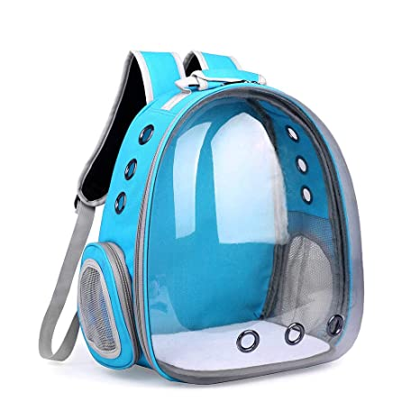 fbe6b323eac1 Yeahii Breathable Transparent Space Capsule Pet Cat Puppy Travel Space  Backpack Carrier Bag (Light Blue