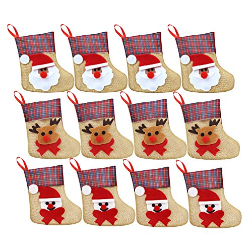 Womsky 12 Pcs 3D Mini Christmas Stockings Linen Burlap Silverware Holders Felt Rustic Plaid Tableware Bags Santa Snowman Reindeer Pattern Dinnerware Cover Christmas Decorations Xmas Party (Reindeer Family Christmas Ornament)