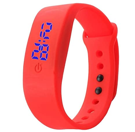 Tongshi Para mujer hombre del reloj de goma LED Fecha Deportes reloj digital pulsera (rojo