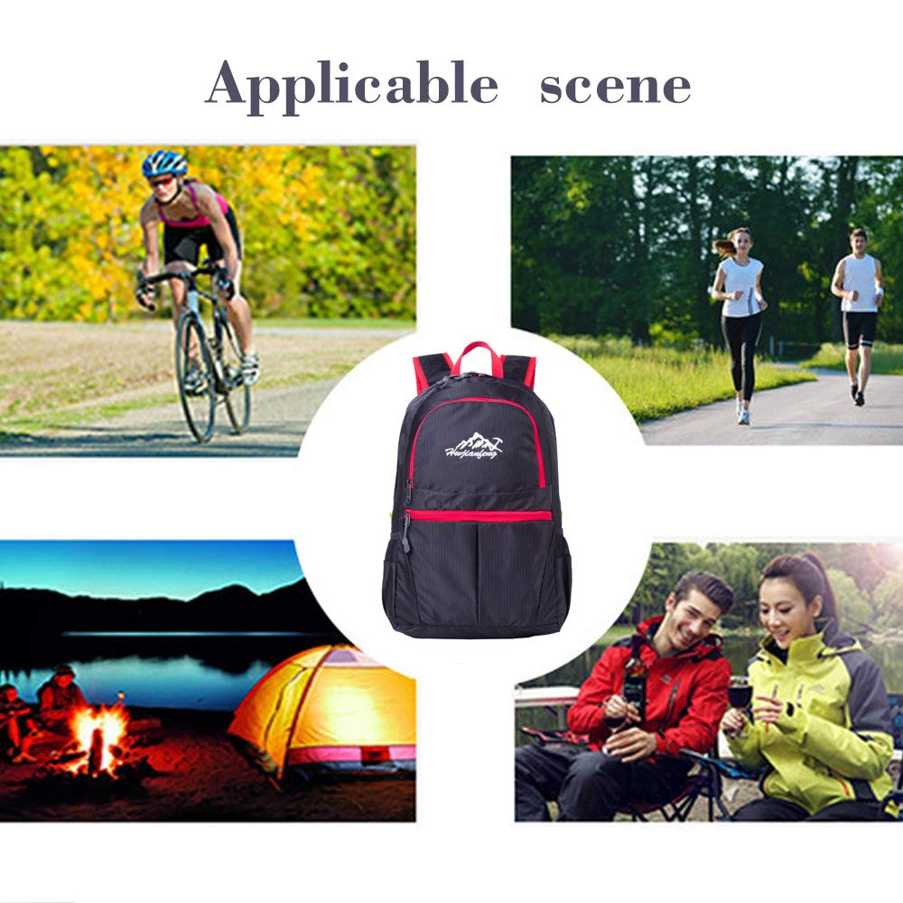 HWjianfeng Hiking Daypacks Travel Backpack Daypack Small Lightweight Waterproof Tear Resistant20-35L for Outdoor Mountain Climbing Travel for Women and Men Black