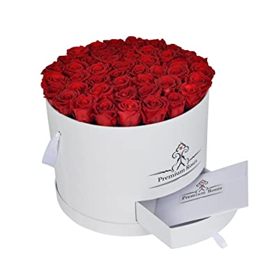 Premium Roses| Model White| Real Roses That Last a Year | Fresh Flowers| Roses in a Box (White Box, Large) : Grocery & Gourmet Food