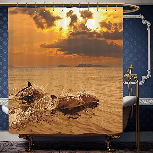 Wanranhome Custom-made shower curtain Sea Animals Decor Dolphins at Sunset with Water Splashes Aquatic Playful Animal at Dusk Print Multi For Bathroom Decoration 72 x 92 - Sunset Galleria Map At