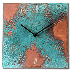 Patinated Copper Rustic Square Turquoise Wall Clock 10-inch - Silent Non Ticking Gift for Home/Office/Kitchen/Bedroom/Living Room