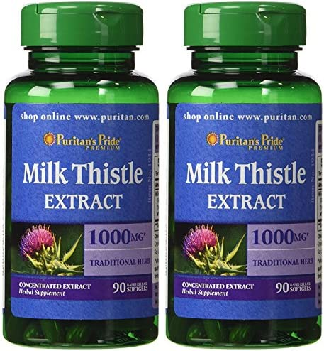 Puritan's Pride 2 Pack of Milk Thistle 4 1 Extract 1000 mg Silymarin Puritan's Pride Milk Thistle 4 1 Extract 1000 mg Silymarin