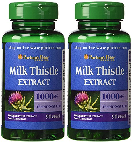 Puritan's Pride 2 Pack of Milk Thistle 4:1 Extract 1000 mg (Silymarin) Puritan's Pride Milk Thistle 4:1 Extract 1000 mg (Silymarin)-90 Softgels Review