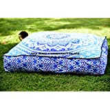 """Square Floor Pillow Large Ottoman Pouf Cover Hippie Indian Seating Daybed Throw Sofa Cushion Cover Ombre Mandala Outdoor Dog Bed by """"Handicraftspalace"""""""