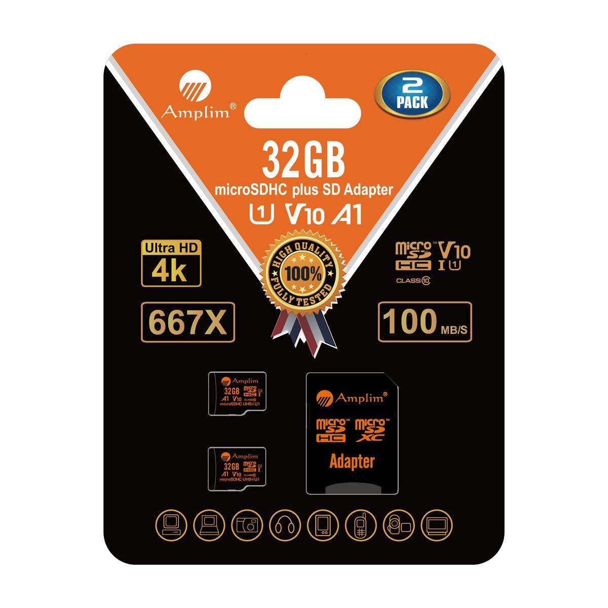 Amplim 4 Tarjeta MicroSDHC 16GB y Adaptador (Clase 10 UHS-I Micro SD Extreme Pro Memoria Card) 16 GB MicroSD SDHC Ultra Alta Velocidad 90 MB/s 600X ...