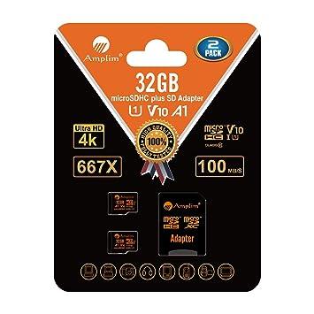 Amplim 4 Tarjeta MicroSDHC 16GB y Adaptador (Clase 10 UHS-I Micro ...