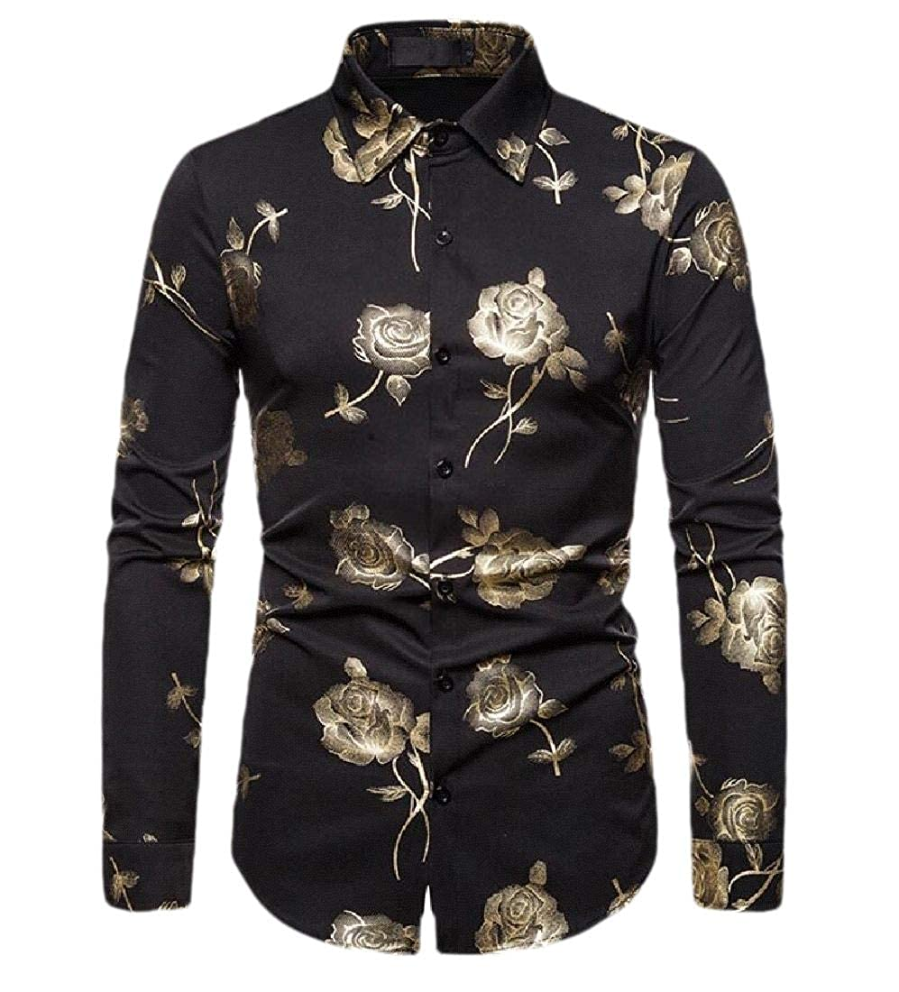 Alion Mens Hipster Shiny Silver Rose Design Slim Fit Long Sleeve Party Button Up Dress Shirt