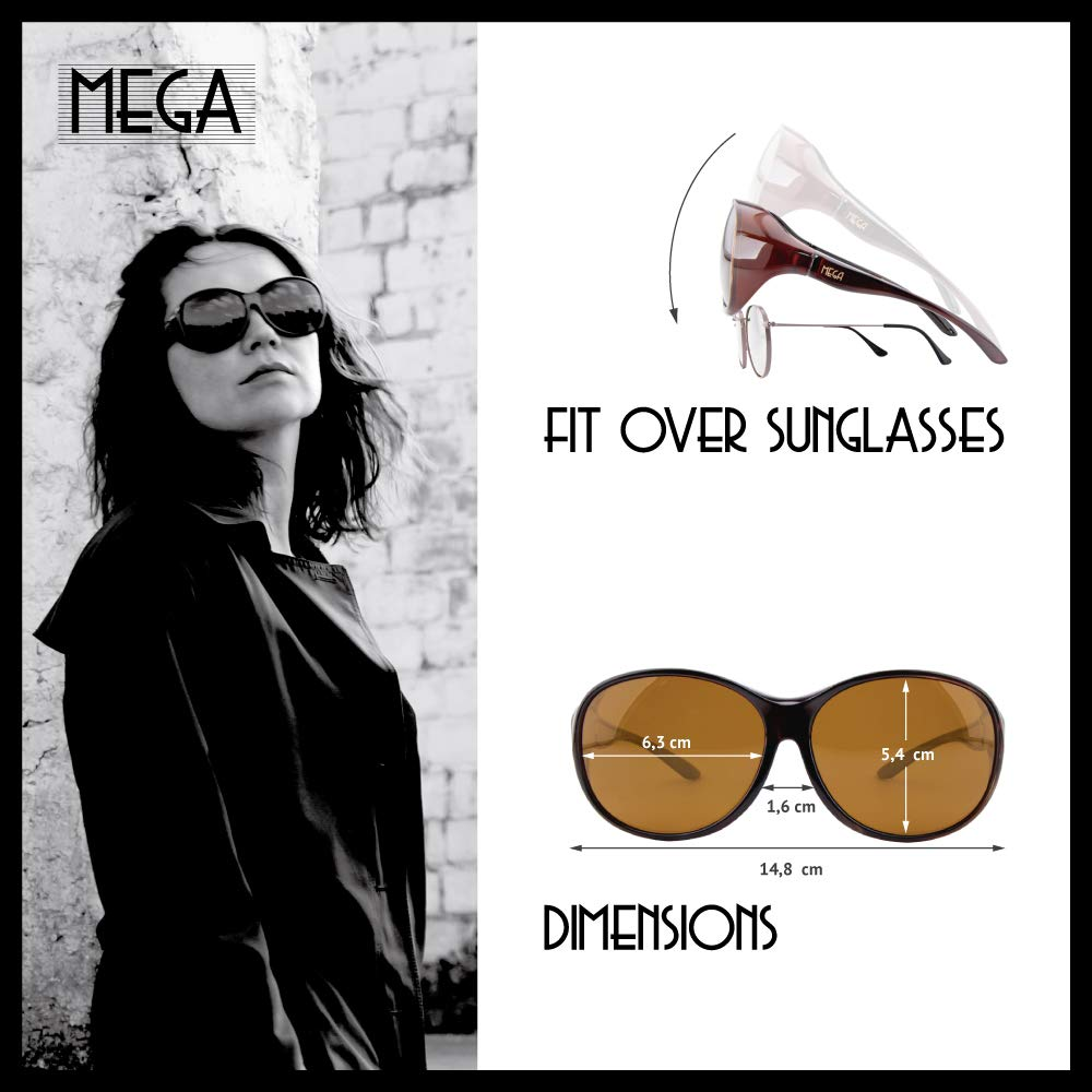 UV400 ActiveSol Gafas superpuestas Mega para se/ñora Gafas polarizadas  32 g Gafas sobre Gafas para Coche y Bicicleta Gafas de Sol polarizadas para Poner Encima de Las Gafas
