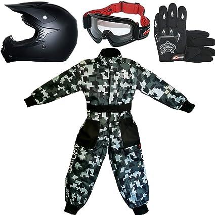 Leopard LEO-X15 Negro Mate Casco de Motocross para Niños + Gafas + Guantes + Camo Traje de Motocross para Niños, Traje XL (11-12 Años), MattNegro - ...