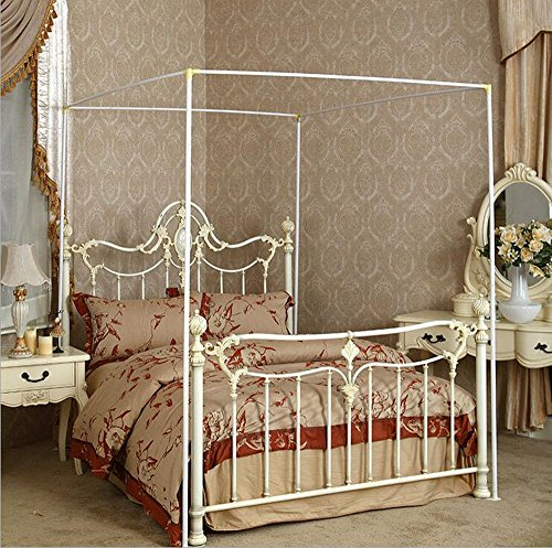 (Mengersi Bedding Canopy Bed Frame Post,White (White, Twin))