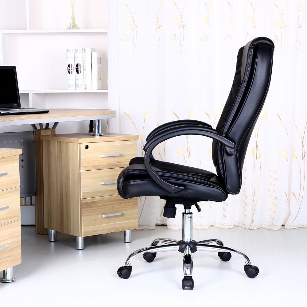 enron executive leather office chair black chrome base rise and