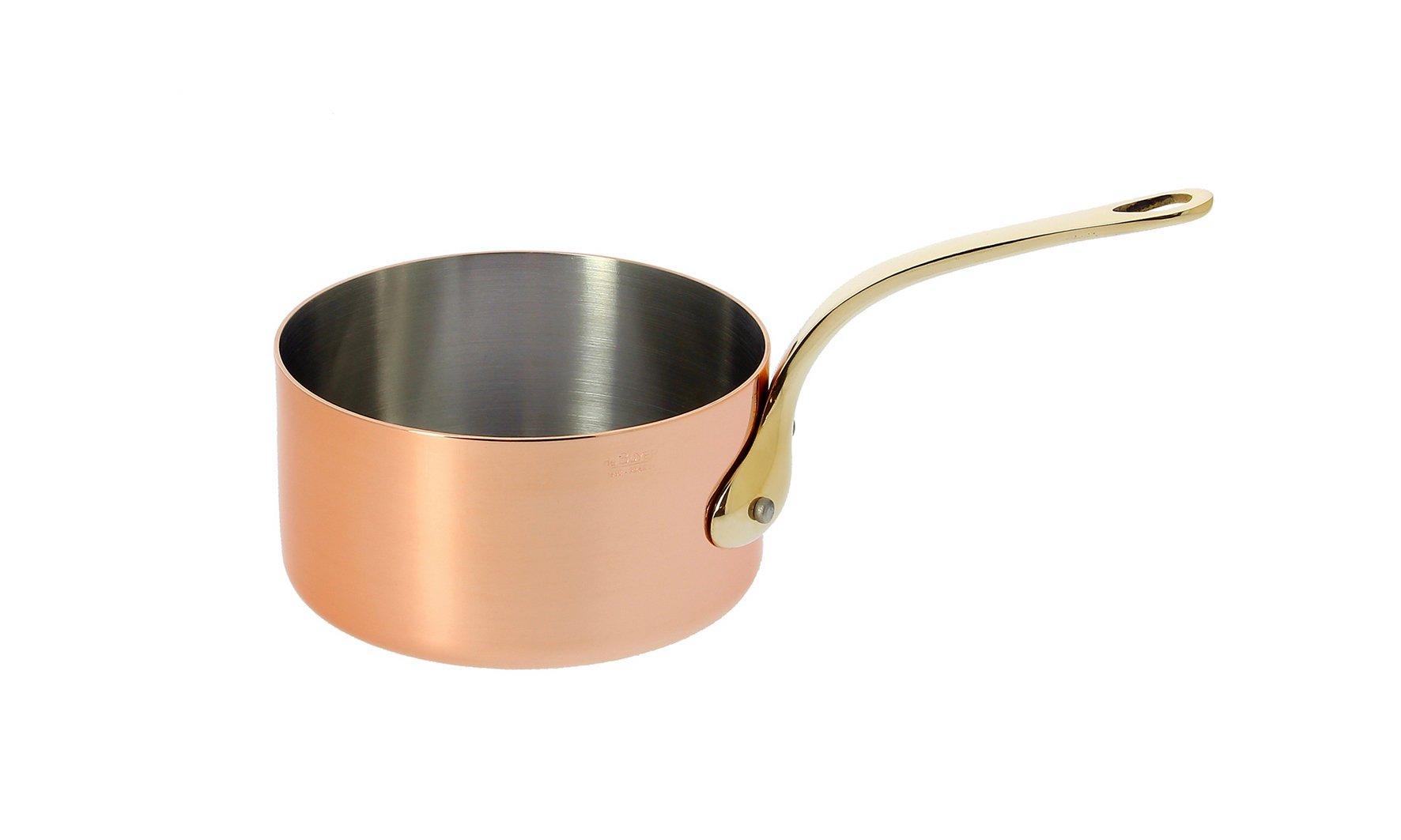 De Buyer Professional 10 cm Inocuivre VIP Copper Saucepan Stainless Steel Inside with Brass Handle 6445.10