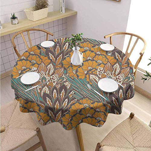 GROGON Tulle Round Tablecloth Floral Pattern of Flowers and Peacock Feathers Floral Arrangement Artwork Petrol Blue and Pale Coffee Colorful Tablecloth Diameter 36