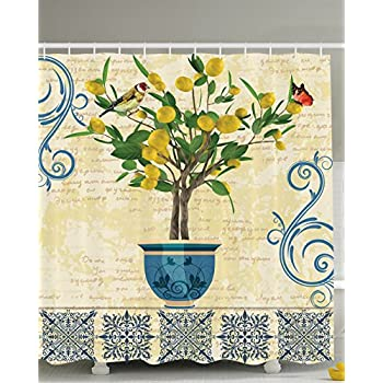 Amazon.com: Lemons Decor Lemon Tree Birds Shower Curtain Traditional ...