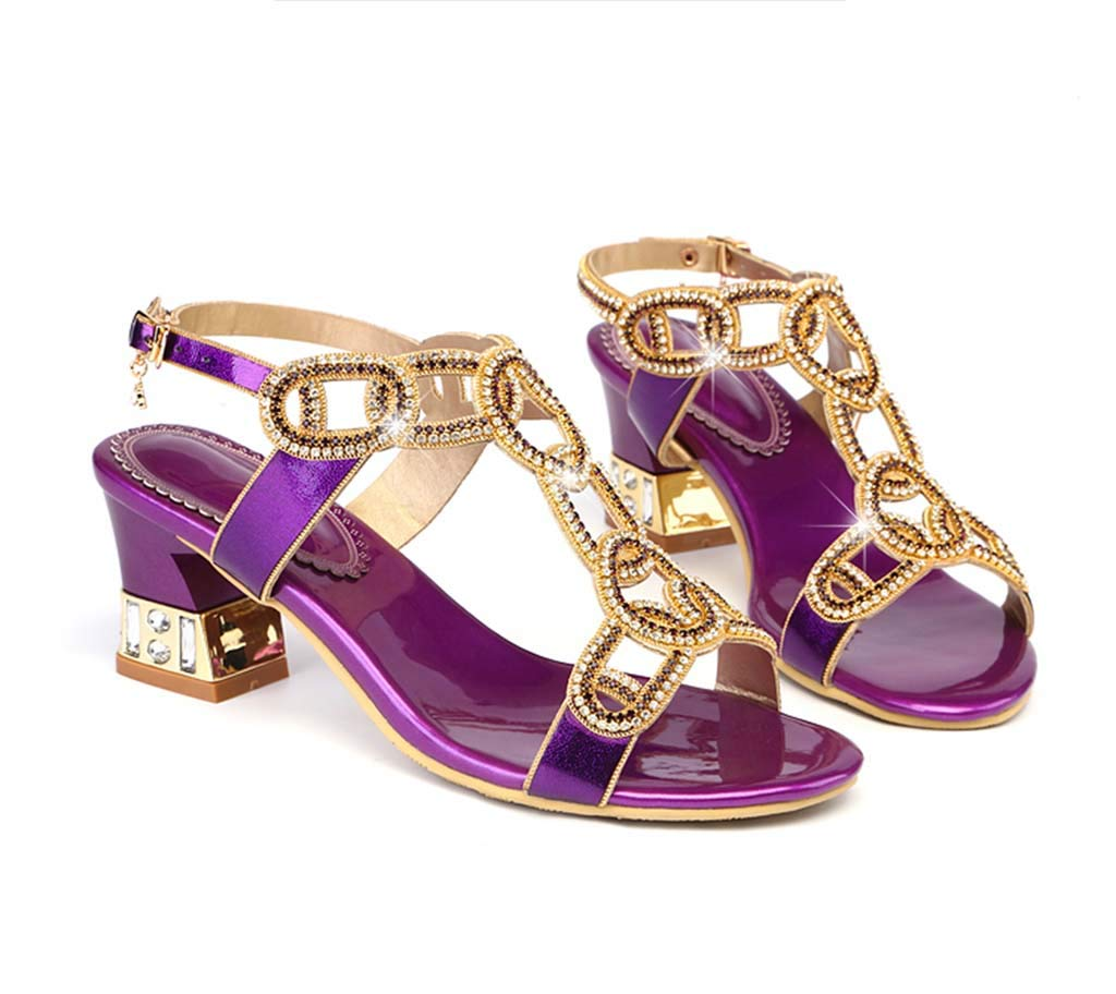 HRN Womens Rhinestone Sandals Thick with high Heel Hollow Fashion Sandals Open Toe Roman Shoes Summer New Europe and America