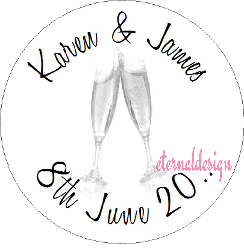 Eternal Design 140 x 25mm Personalised Wedding White Stickers WDCS 13