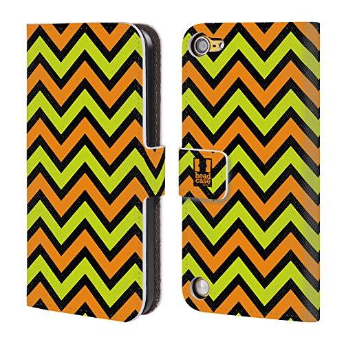 Head Case Designs Verde Lime E Arancione Su Bg Nero Chevron Neon Cover a portafoglio in pelle per iPod Touch 5th Gen / 6th Gen