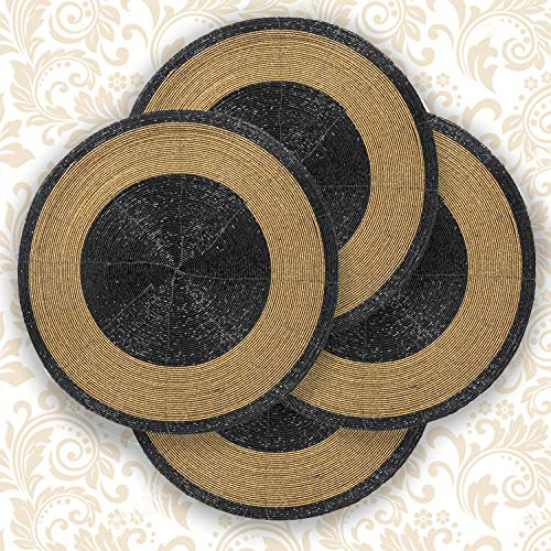 Decozen Round Placemat for Dining Table - Coffee Table - Handmade from Beads Heat Resistant Scratch Proof and Easy to Care Kitchen Décor Table Mat Set of 4pcs 14 inches - Black/Gold