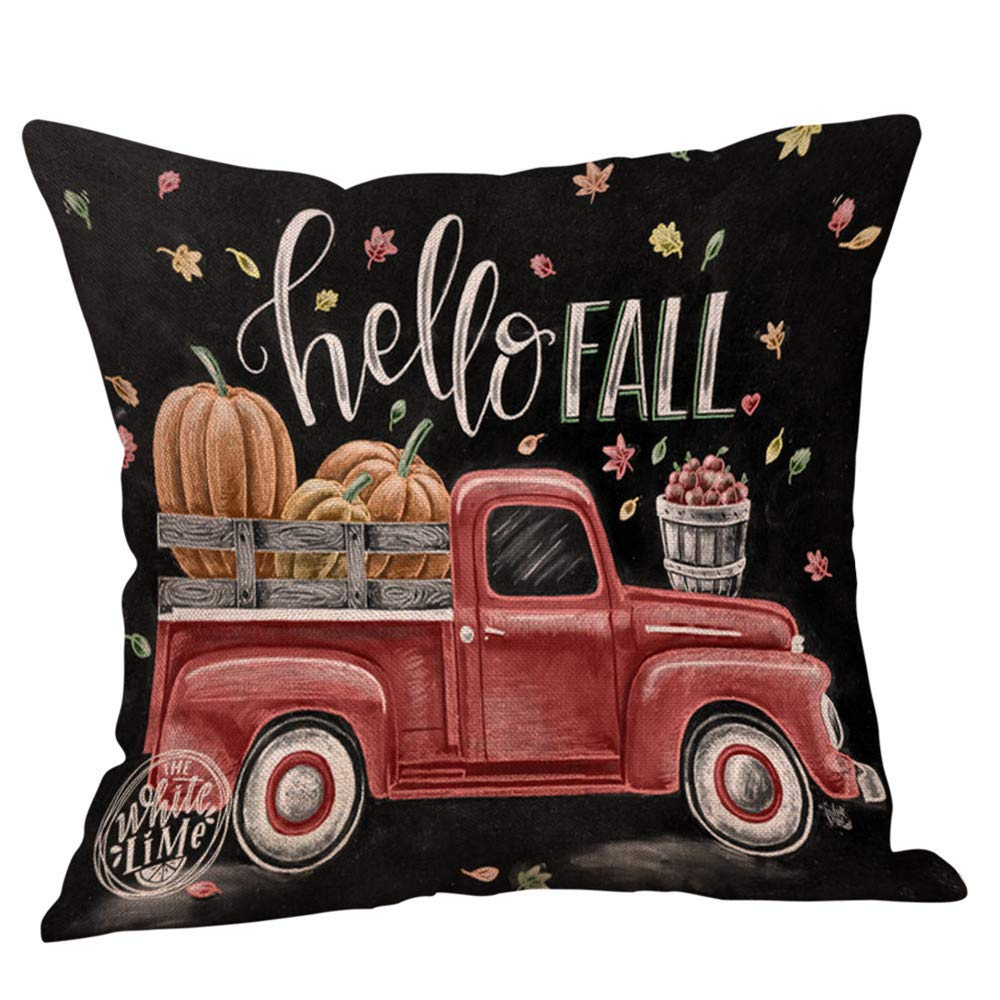 Halloween Decorations Pillows Case Pumpkin on Truck Pillowcases Thanksgiving Cushion Cover with Zipper 18 x 18 inch (16)