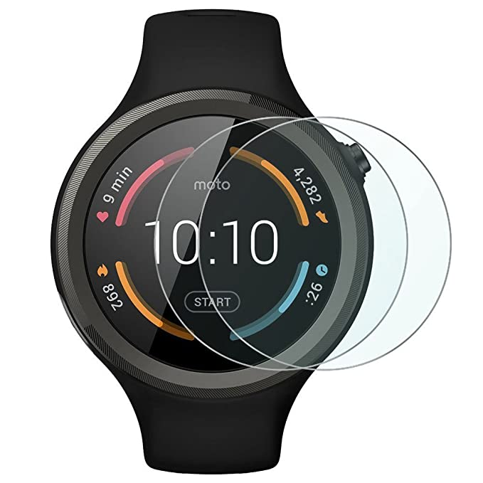 2 x Protector de cristal transparente SmartWatch Motorola ...