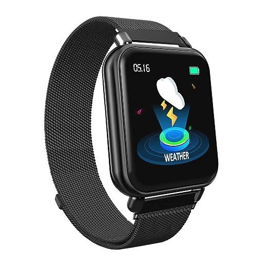 ... Cuadrado Reloj Fitness Pulsera Actividad Pulsómetro Monitor de Ritmo Cardíaco Sueño para iOS Android Smartwatch(Negro/Gold): Amazon.es: Relojes