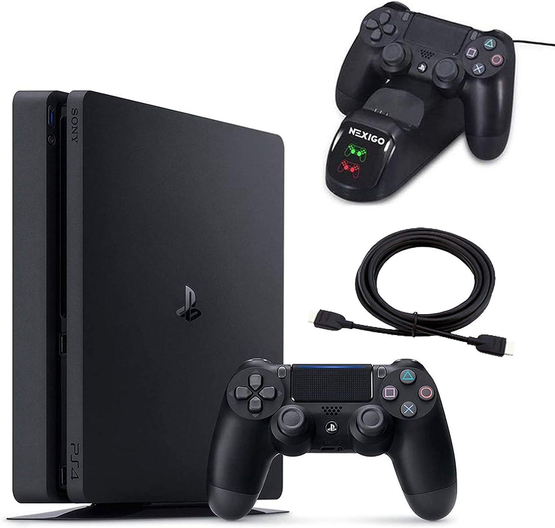 2020 년 4PS4 스테이션 슬림 1TB 콘솔 크리스마스 휴가 가족을 뭉치 빛과 슬림 PS4 시스템 1TB 하드 드라이브+NEXIGO_CHARGING STATION 독 번들